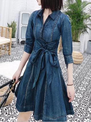 Denim dress women 19 spring new single-breasted retro slim high waist half Sleeve jeans dress a-line