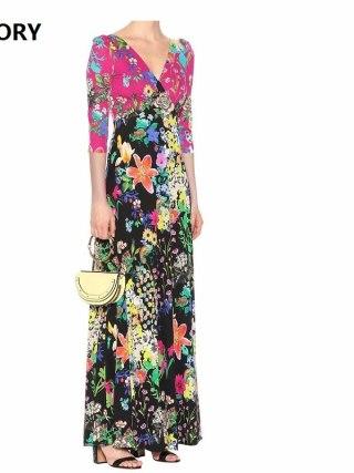 100%Silk Jersey Women Long Dress New 19 Spring Summer Women V-Neck Charming Flower Print Half Sleeve Slim Fit & Flare Dress