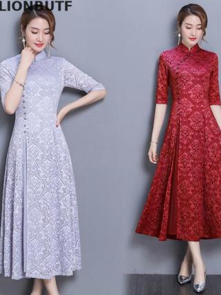 3xl Floral Cheongsam Dress Chinese Style Half Sleeve Retro Dress 19 Spring Autumn Slim Female Sheer Dress Vintage Women Dress