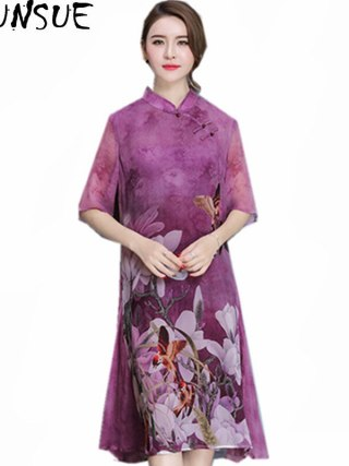 AYUNSUE Vintage Qipao Floral Dress Stand Collar Women Spring Summer Half Sleeve Slim Chiffon Dresses Vestidos Plus Size WXF596
