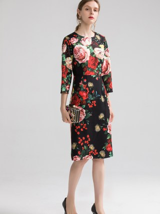 Europe&America women high quality floral print dress 19 autumn fashion half sleeves elegant dress B013