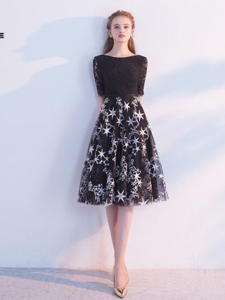 FOLOBE 19 new autumn fashion a line half sleeve black dress banquet party lace women dresses with embroidery stars