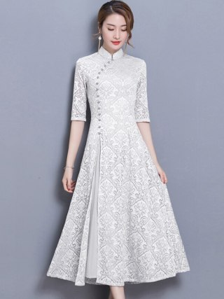 19 new vintage Lace Long dress women Summer Chinese Style A-Line dress Solid color Half sleeve Ankle-Length dress women