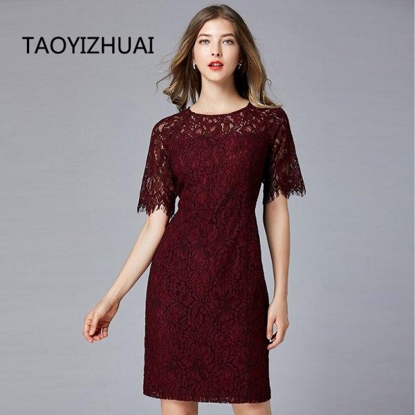 TAOYIZHUAI New Arrival Summer Straight Half Flare Sleeves Knee-Length Vintage O-Neck Elegant Party Lace Women Dress 11700