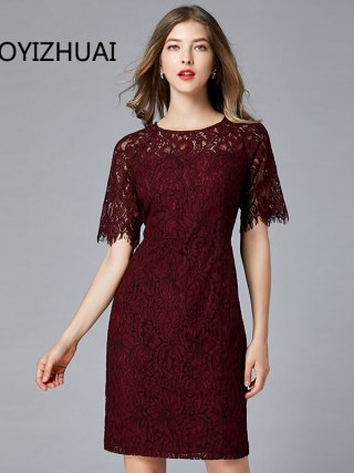 TAOYIZHUAI New Arrival Summer Straight Half Flare Sleeves Knee-Length Vintage O-Neck Elegant Party Lace Women Dress 11700