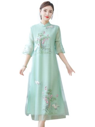 Embroidery Chinese Style Dress Vintage Half sleeve Large size 4XL Long dress Summer new fashion Voile Ankle-Length dress womens