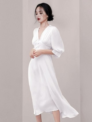 Fashion Women White Vestidos Summer Chiffon Half Sleeve Office Lady Long Dress Vintage Sexy V Neck High Waist Slim Party Dress