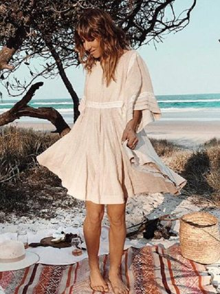 TEELYNN cotton & linen tunic mini dresses boho solid dress o-neck loose short summer dresses beach Gypsy dress women vestidos