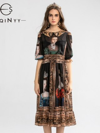 SEQINYY Vintage Dress Summer Spring New Fashion Design Half Sleeve A-line Painting Printed Midi Black Chiffon Dress