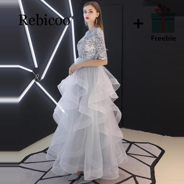 Rebicoo 19 French Sequined Half Sleeve Layered Hem Evening Gown Grey Waisted Puff Dress
