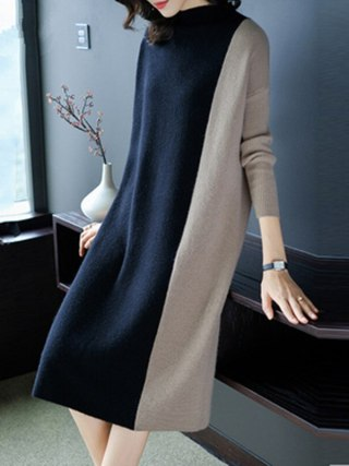 Europe Women 19 Autumn Winter Stitching Fashion Long Sleeve Dress Female Half Turtleneck Knee-Length Knitted Dress A1139