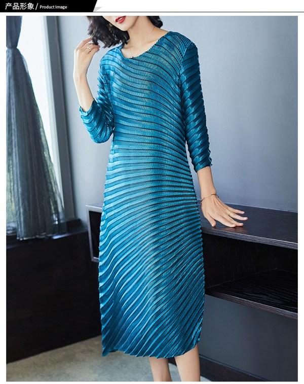 HOT SELLING Miyake fashion solid fold o-neck half sleeve Asymmetrical dresses IN STOCK