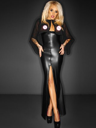 Long Maxi Mesh Dress Transparent Cape Wetlook Vinyl Leather Clubwear Gothic Black Split Bodycon Dresses Club Party Dresses Robe