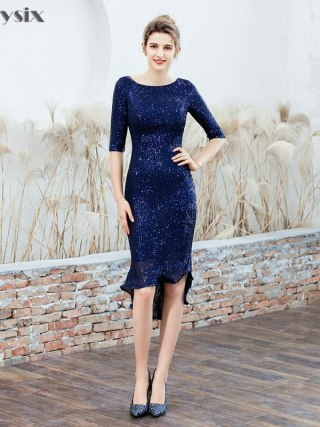 Partysix Women Half Sleeve Sequins Dress Elegant Party Dress With Belt