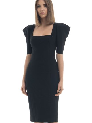 Summer Dress Women Sexy Half Sleeve Knee Length Black Bandage Dress 19 Ladies Designer Elegant Party Dress