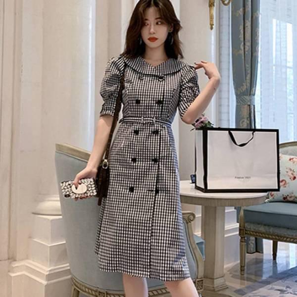 19 autumn Korean Double Breasted Plaid Dresses Women Gray Ruffles Bodycon OL Dress Fashion Half Sleeve dresses