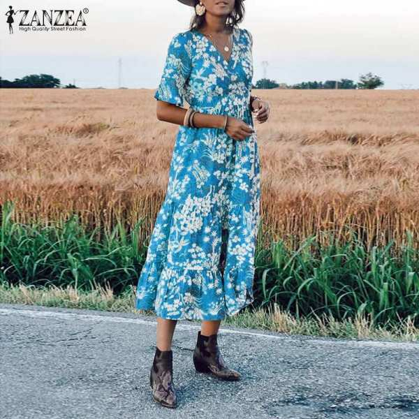 ZANZEA Women Floral print Midi Dress Elegant Lady Half Sleeve Dresses Bohemian Vestidos Party Evening Summer Sundress Robe Femme