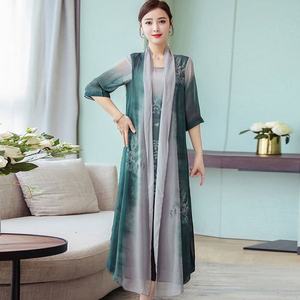 Summer New Women Two Piece Dresses 19 Plus Size Loose Vintage Chiffon Dresses Female Print Half Sleeve Long Dresses LJ2417