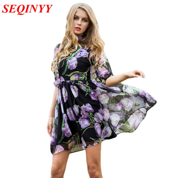 Dress Summer Spring New Women's 17 New Half Lantern Sleeve Purple Flowers