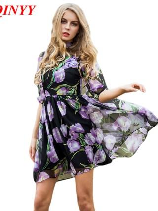 Dress Summer Spring New Women's 17 New Half Lantern Sleeve Purple Flowers