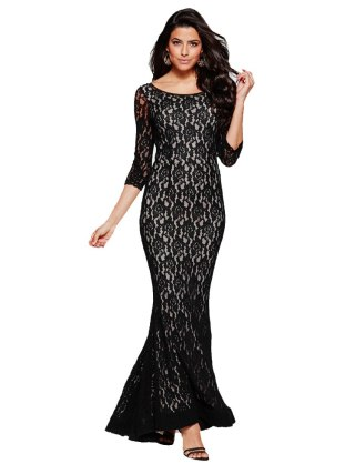 European Style O-neck Hollow Back Half Sleeves Mermaid Lap Lace Dress Evening Party Empire Waist Graceful Dress FS0646