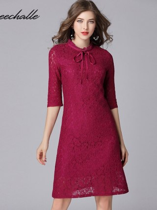 Queechalle Fuchsia Elegant Lace Dress for Women Bow Ties Collar Half Sleeve Women Dress 3XL 4XL 5XL Plus Size One-piece Vestidos