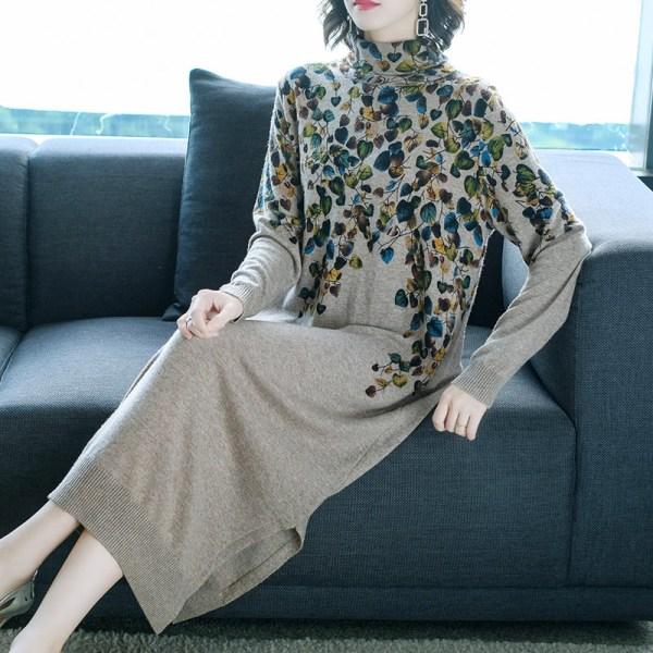 New Women Sweater Dress Half Turtleneck Long Sleeve Print Knitting Dress High Quality Female Straight Winter Knitted Dresses