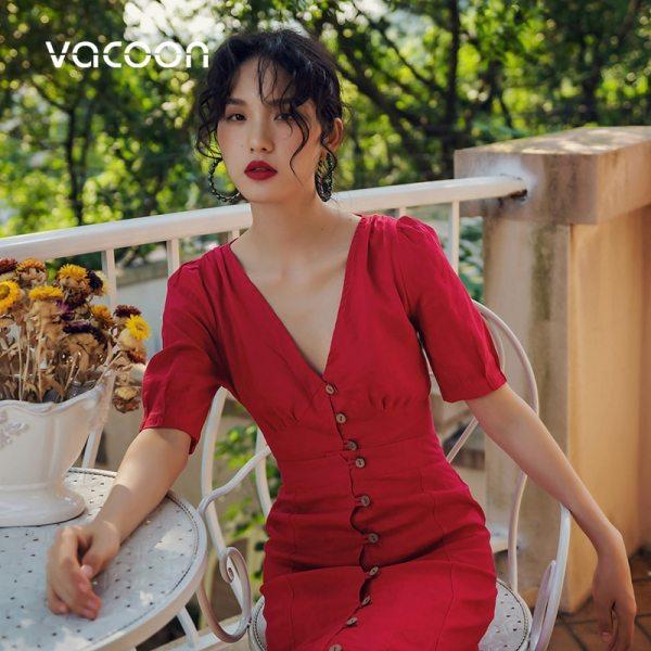 New Female Dress Woman Red retro Two-piece office slim dress V Neck fishtail dress