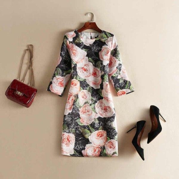 Vintage Black Flower Jacquard Dress Fashion O-Neck Half Sleeve Casual Dresses J0622