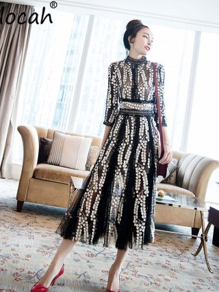 Delocah Autumn Women Dress Runway Fashion Designer Half Sleeve Gorgeous Appliques Dot Printed Mid-Calf Office Slim Dresses