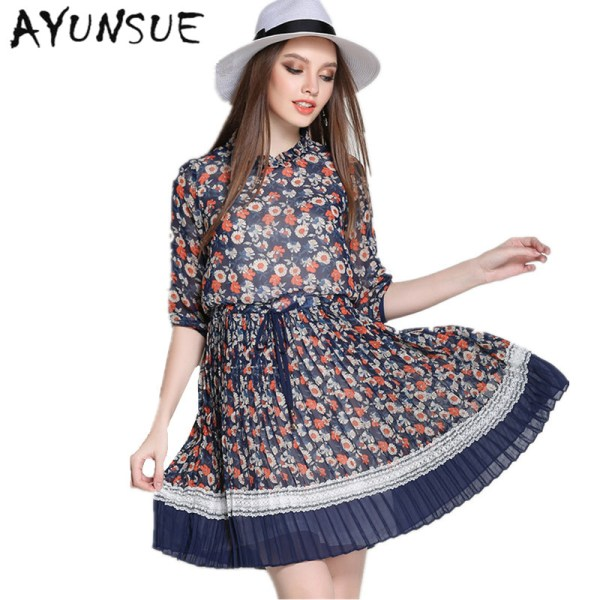 Half Sleeve Elegant Dress Women Chiffon Plus Size 5XL Blue Floral Dress Summer Dresses Casual Clothes Women Vestidos MujerFYY313