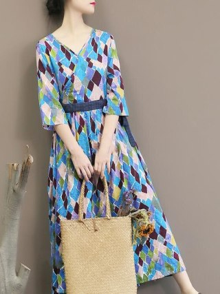 Spring Autumn Geometric Printing Dress Half Sleeve Sexy V Neck Dress Loose Long Dress
