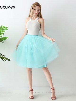 High Waist 6 Layer Midi Tulle Skirt Tutu Skirts Womens Petticoat Elastic Belt Summer faldas saia jupe 18
