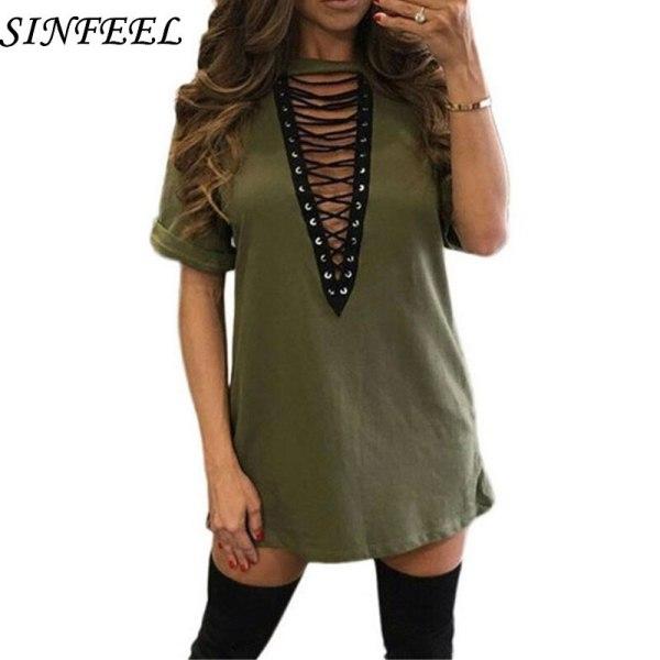 3xl 18 Summer Fashion Women Dress Half Sleeve Sexy Deep V-Neck Criss Bandage Party Dresses Mini T Shirts Dress Plus Size