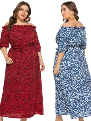 XL-6XL Plus Size Dress Women Long Beach Dress Fashion Slash Neck Half Sleeve Maxi Dresses Leopard Print Autumn Summer Vestidos