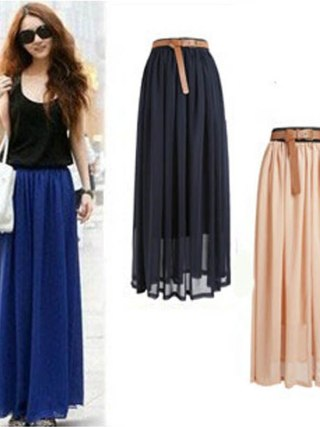 New Brand Fashion Designer Sexy Style Skirt Women Sexy Chiffon Candy Color Long Skirt High Quality Nice designs Hot selling