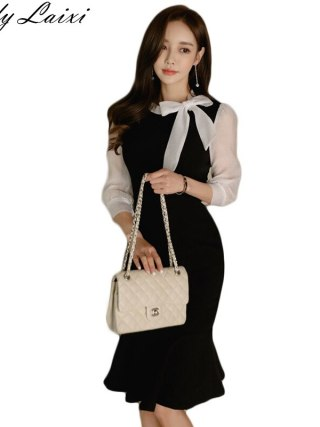 Half Sleeve Color Block Mermaid Sheath Dress Black White Patchwork Women Sexy Bodycon Vintage Elegant Party Dress
