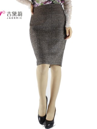 Jaderic Vintage Bodycon Skirt High Waist Women Knee Length Pencil Skirt Plaid OL Office Elegant Skirts Womens 18