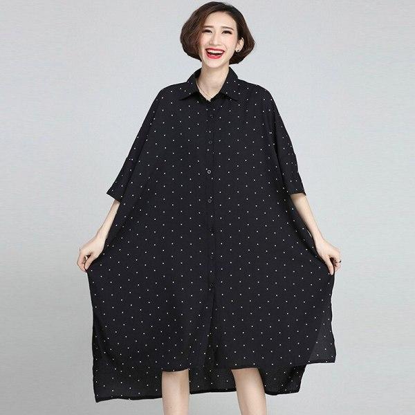 Johnature 19 Summer Plus Size Korean Wave Point Dresses Women New Turn-down Collar Half Sleeve Irregular Casual Dress