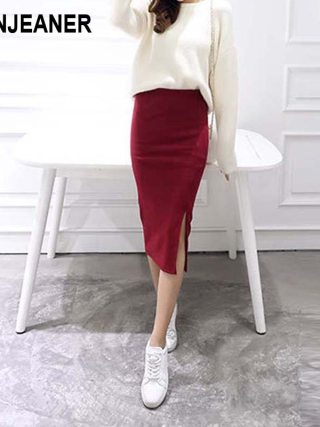 16 Summer skirts Sexy Chic Pencil Skirts Women Skirt Wool Rib Knit Long Skirt Package Hip Split Waist midi skirt maxi A919