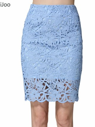 KoHuiJoo 19 Summer Lace Skirts Women Plus Size Hollow Out Lady Sexy Pencil Skirt Big Size High Waist High Quality White Blue