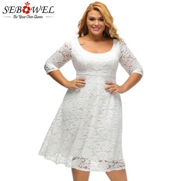 SEBOWEL Plus Size White/Black Floral Lace Curvy A-line Party Dresses Woman Large Size Half Sleeve Dress Female Formal Cocktail