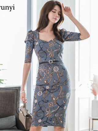Fashion Pattern Office Lady Dress 19 Autumn High Waist Slim Decorative Belt Half Sleeve Simple Elegant Party Dress Women