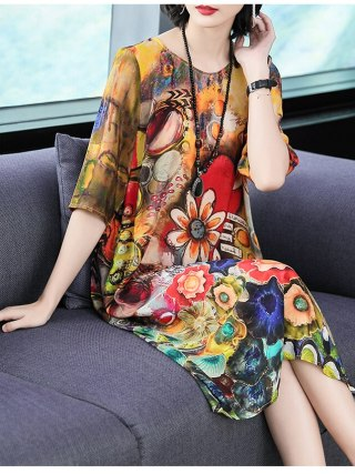 Imitate Real Silk Dresses Plus Size Loose Women Print A-Line Dress New Pattern Half Sleeves Dress Fashion Lady Nightclub Costume