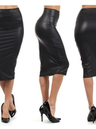 Bohotcotol High waist faux Leather Skirt XXXL Black sexy Pencil skirts middle long Casual mermaid skirt party bar club travel