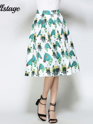 Willstage White Horse Printed Midi Skirts Women Elegant Retro Vintage Tutu Skirt fashion ball gown High Waist 18 Summer Spring