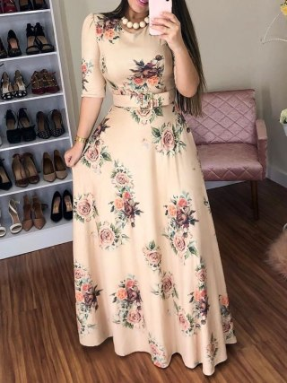 Women Summer Dress 19 Casual half Sleeve Long Dress Boho Floral Print Maxi Dress Elegant Dresses Belt High Waist Long Dresses