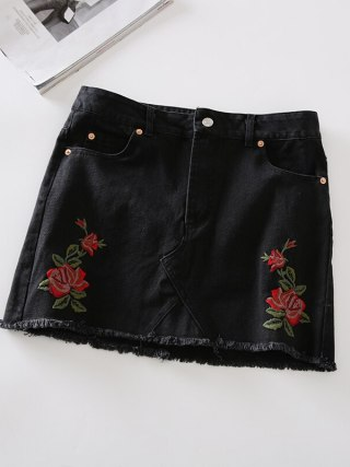 17 Summer Skirt for Womens High Waist Short Midi Skirt Rose Embroidery Mini Casual Denim Blue Black