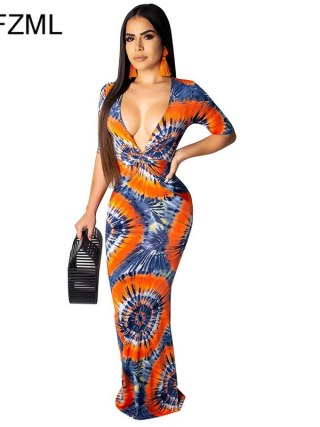 Geometric Pattern Sexy Bohemian Dress Women Deep V Neck Half Sleeve Floor-Length Dress Vintage High Waist Slim Fit Beach Dress