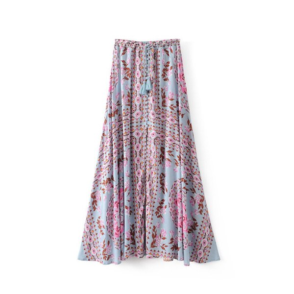 19 Floral Print Summer Women's Skirt Bohemian Elastic Waist Buttons Tassel Belt Long Maxi skirts Brand Clothing Female Saia